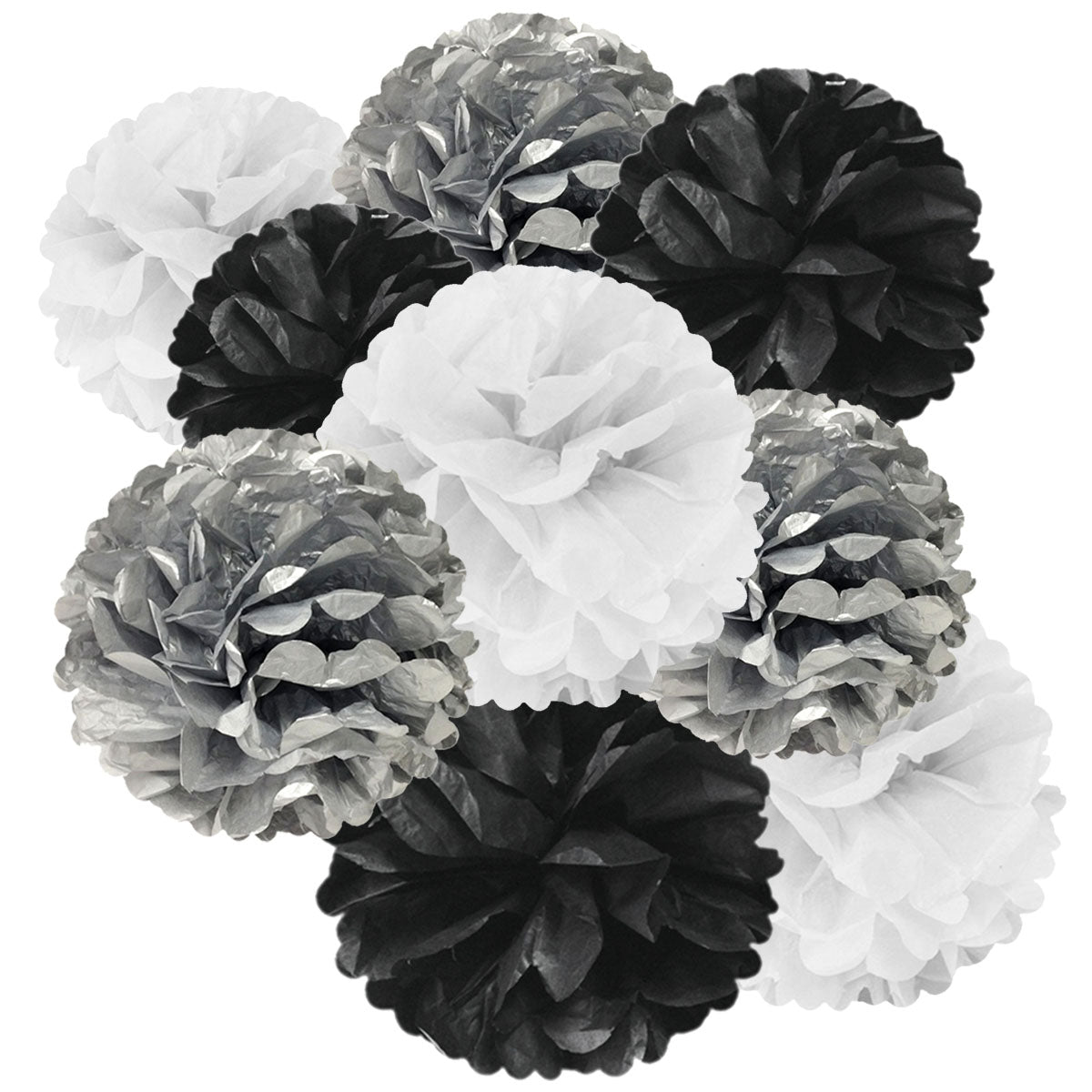 Wrapables Set of 9 Tissue Pom Pom Party Decorations, Black/Silver/White