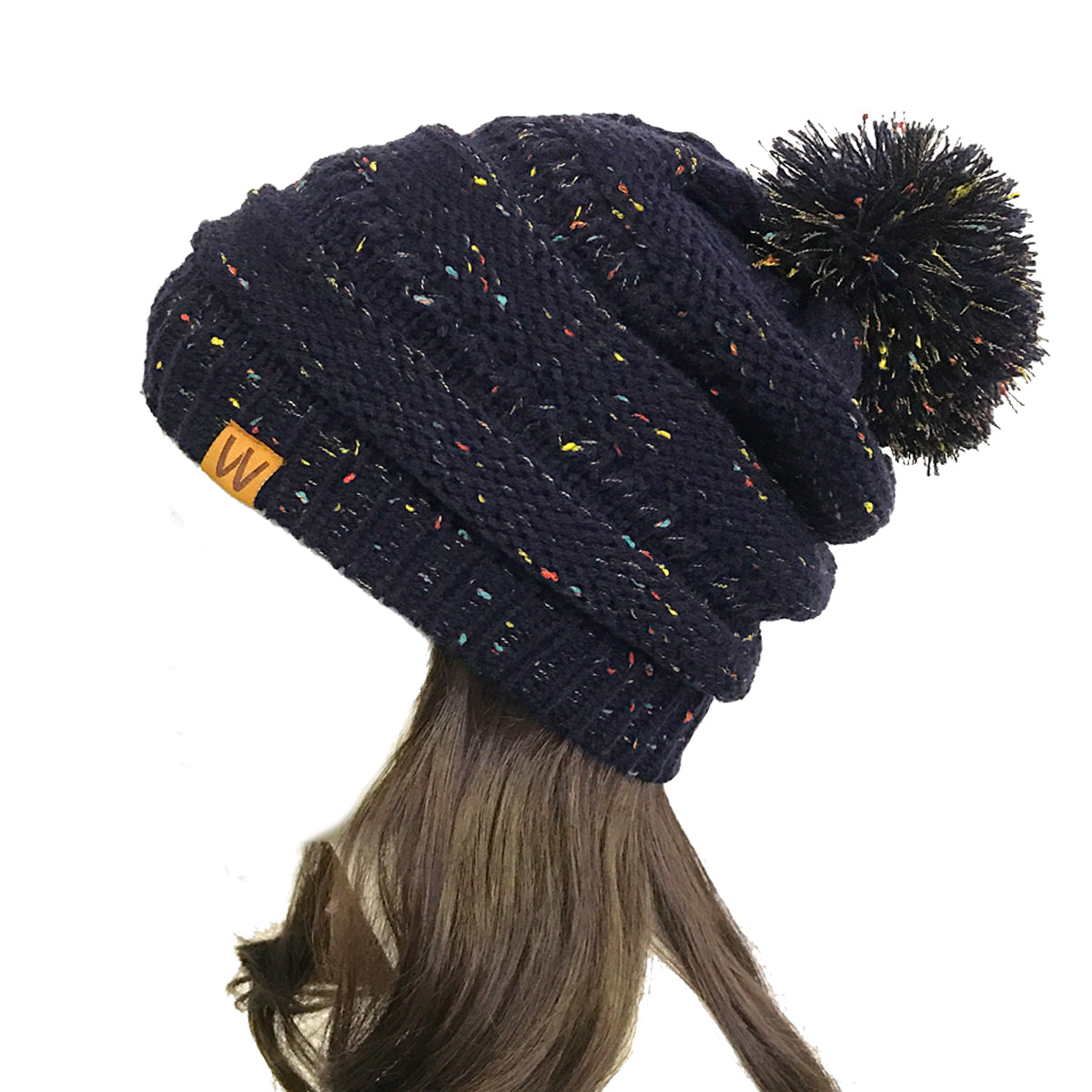 Wrapables Warm Knit Confetti Beanie with Pom Pom, Black