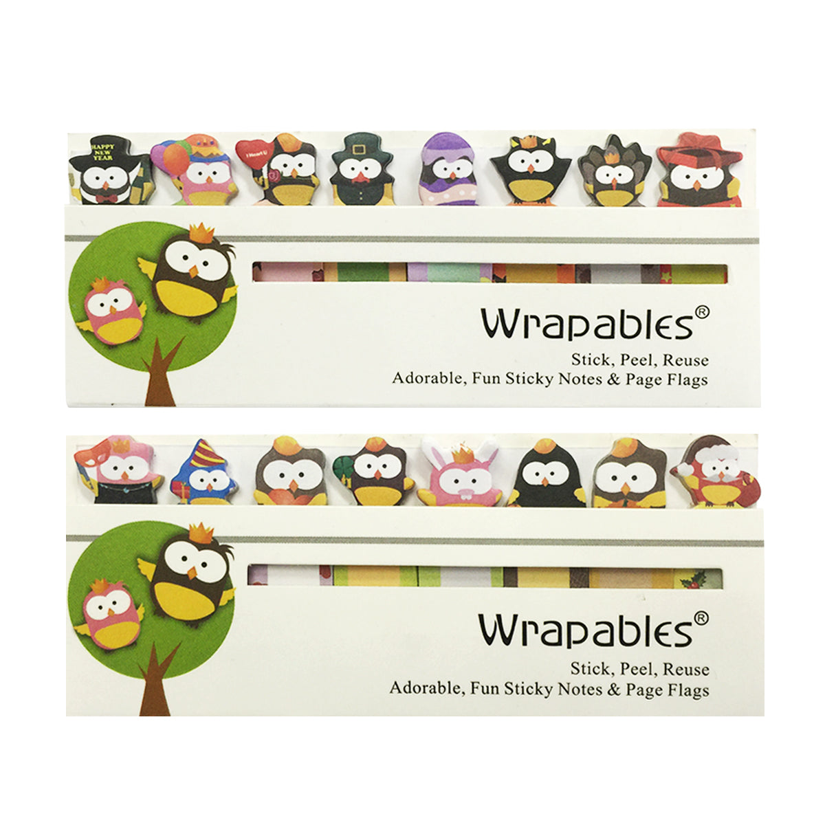 Wrapables Bookmark Flag Tab Sticky Markers (Set of 2), Cute Celebration Owls