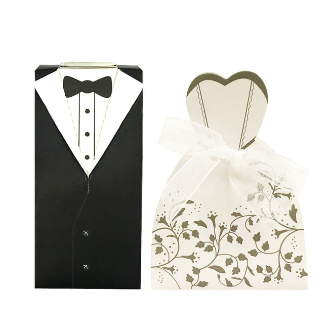 Wrapables? Tuxedo and Bridal Gown Wedding Party Favor Boxes Gift Boxes with Ribbon (Set of 100)