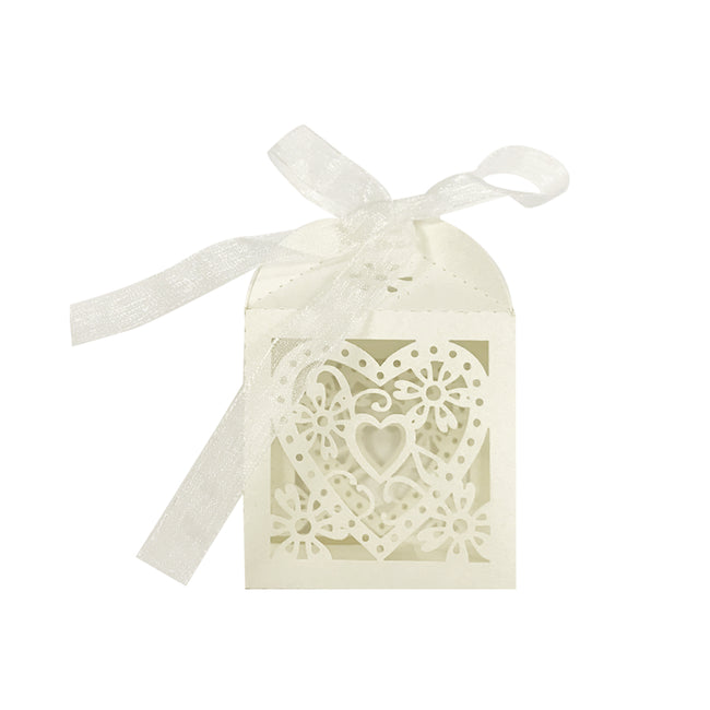Wrapables? Hearts and Flowers Wedding Party Favor Boxes Gift Boxes with Ribbon (Set of 50), Ivory