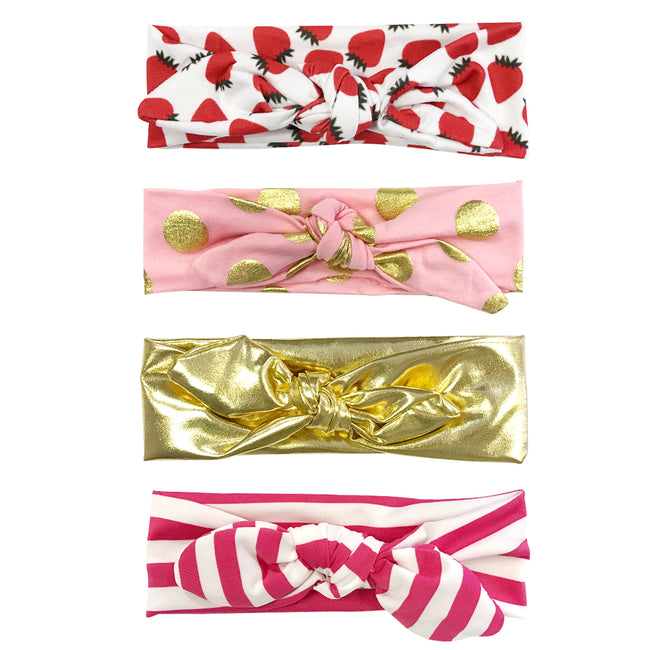 Wrapables Girls Boho Knotted Headband Headwrap (Set of 4)