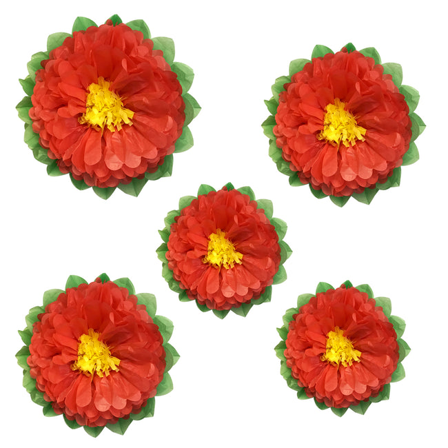 Wrapables Set of 5 Tissue Flower Pom Poms Party Decorations