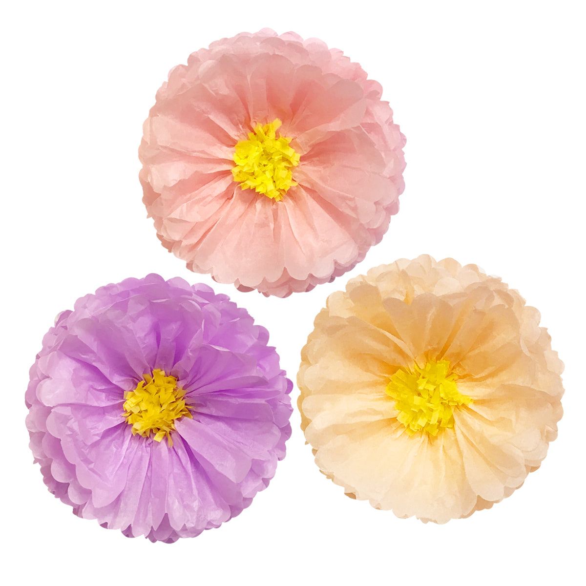 Wrapables Set of 3 Tissue Flower Pom Poms Party Decorations for Weddings, Birthday Parties Baby Showers and Nursery Decor