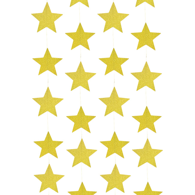 Wrapables 13ft Paper Star Garland Party Decorations (Set of 2), Gold Shimmer