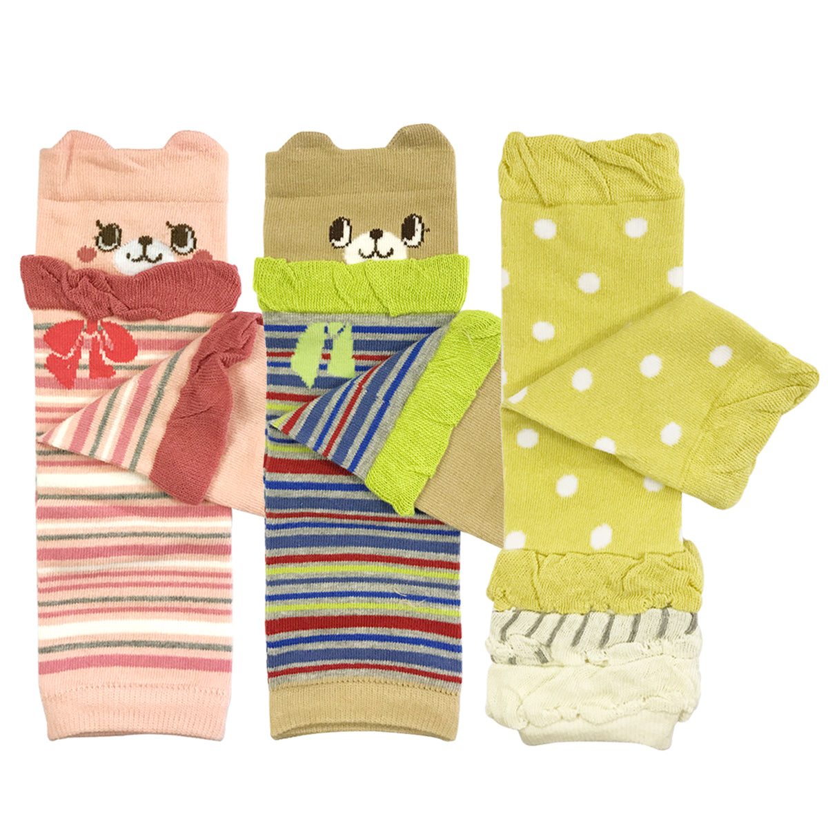 Wrapables Colorful Baby Leg Warmers Set of 3