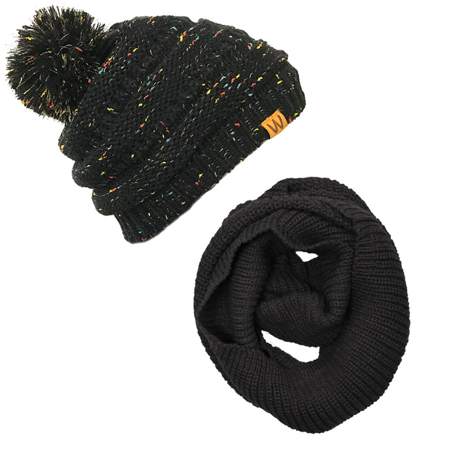 Wrapables Winter Warm Knitted Infinity Scarf and Confetti Beanie with Pom Pom Set