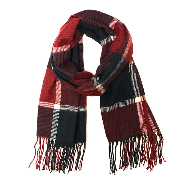 Wrapables Plaid Long Scarf Wrap with Fringe