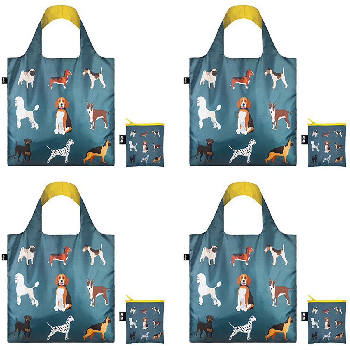 LOQI Cats & Dogs Shopping Bags (Set of 4)