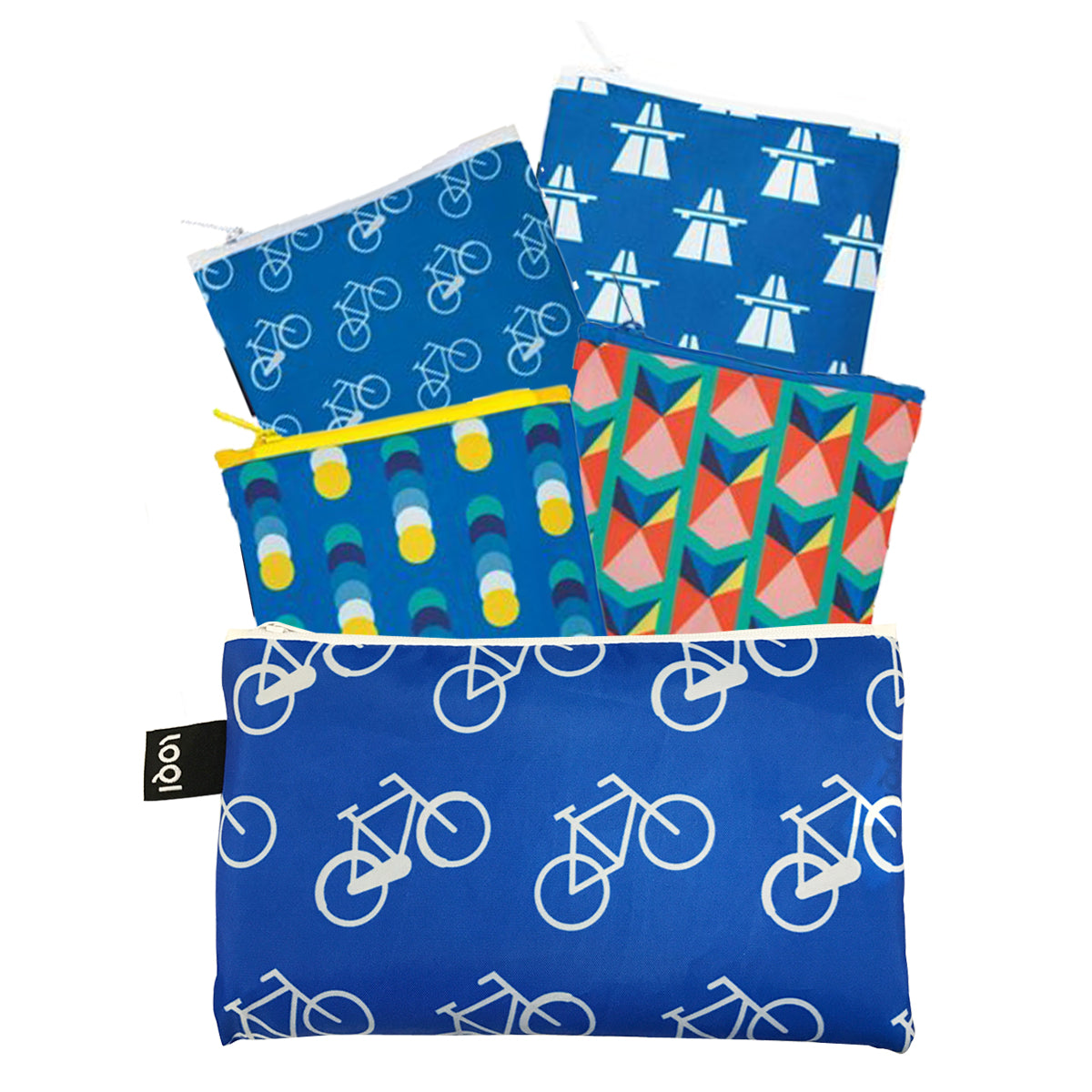 LOQI Geometric Travel Collection Pouch, Set of 4 Reusable Bags