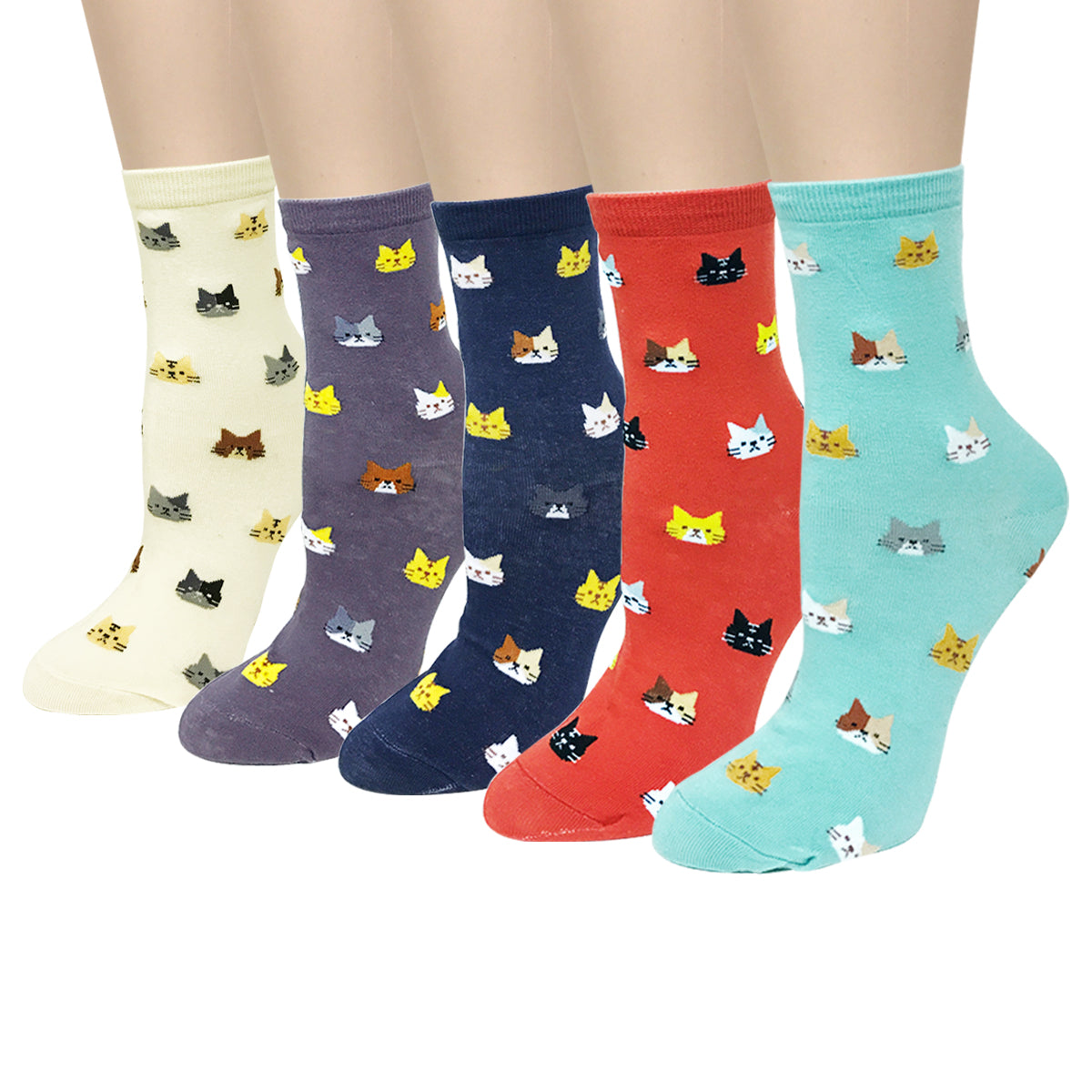 Wrapables Novelty Animal Print Crew Socks (Set of 5), Cutie Cat