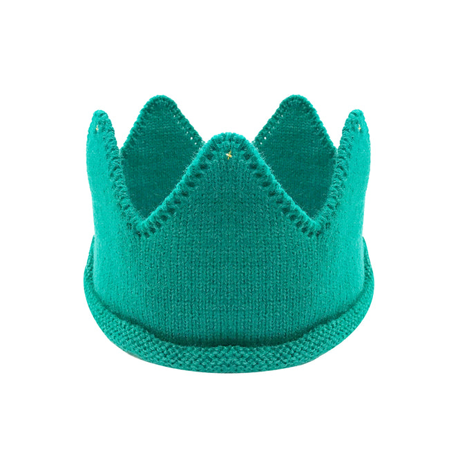 Wrapables Baby Birthday Party Crochet Knit Crown Hat with Gold Trim Blue