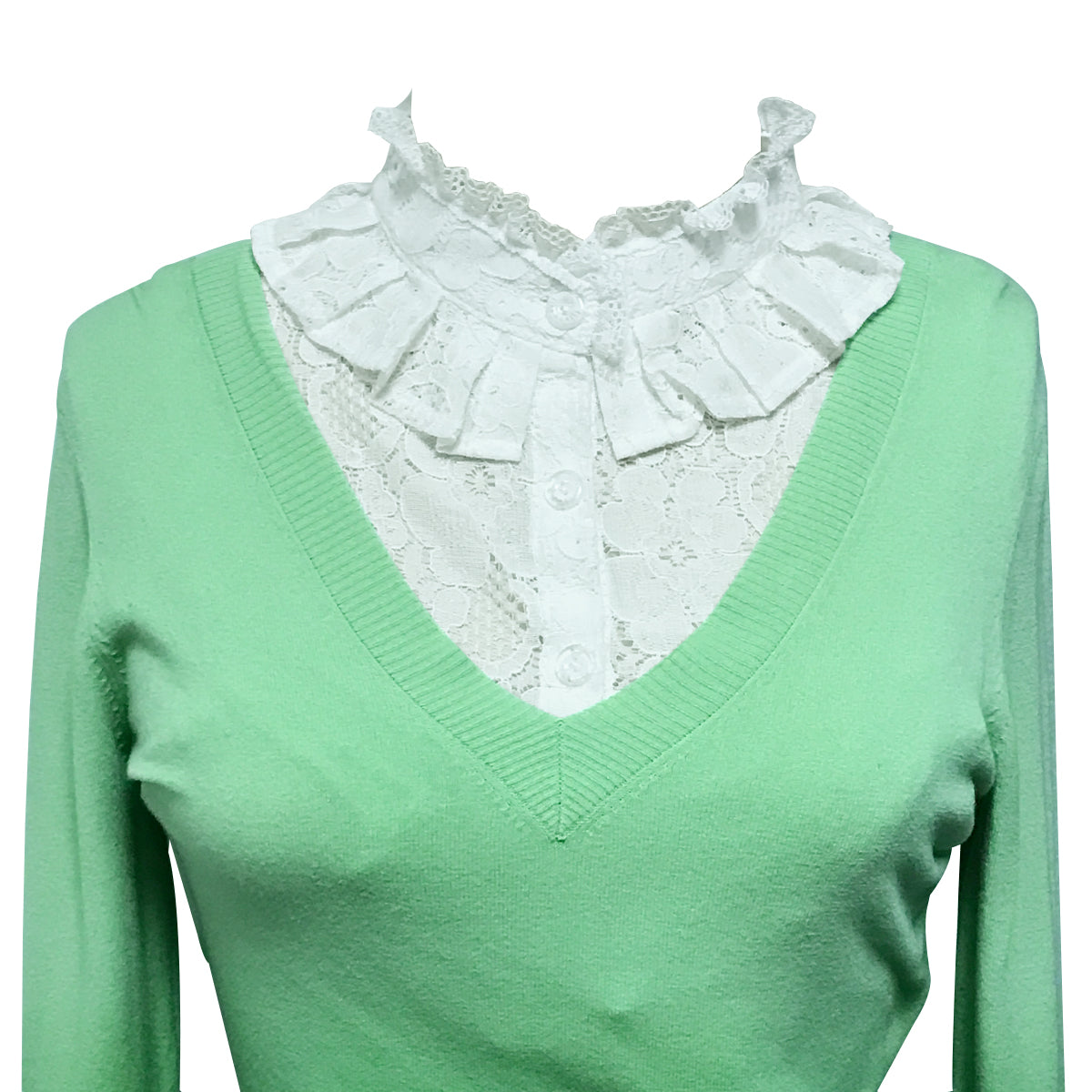 Wrapables Elegant Floral Lace Half Shirt with Ruffle Faux Collar