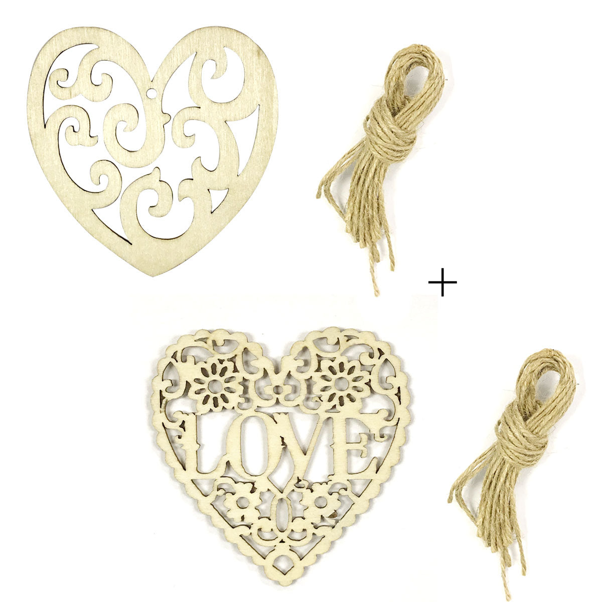 Wrapables Wooden Heart Ornament Hanging Love Decoration (Set of 20)
