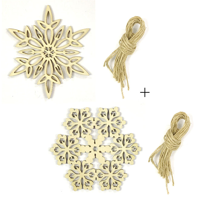 Wrapables Wooden Snowflake Embellishment Christmas Tree Hanging Decorations (Set of 20)