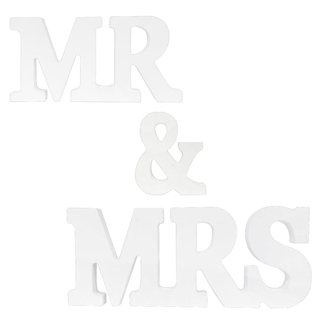 Wrapables? Mr & Mrs White Wooden Letter Sign for Wedding Decoration