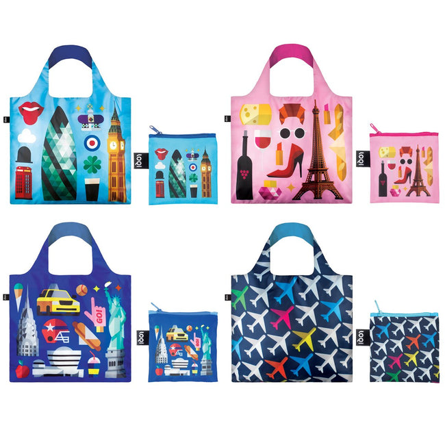 LOQI Hey Studio Airport Collection Pouch, Set of 4 Reusable Bags