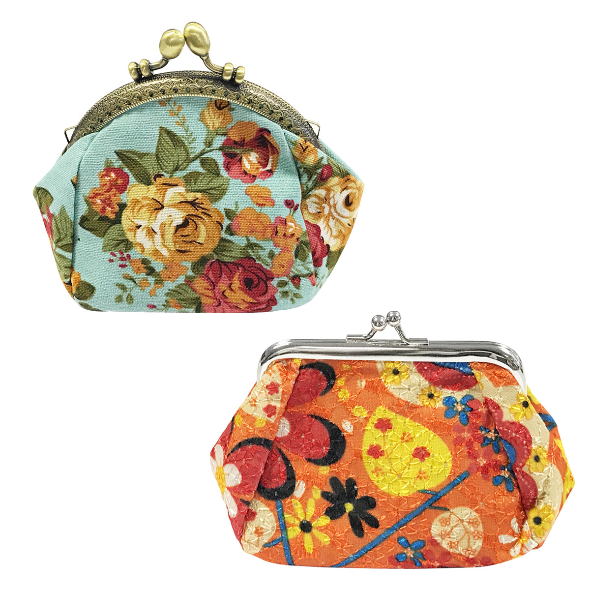 Wrapables Canvas and Embroidered Floral Coin Purse Clutch Wallet (Set of 2)