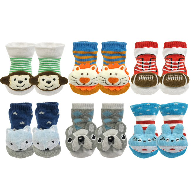 Wrapables Fun and Playful 3D Cartoon Anti-Skid Baby Booties Sock Slipper Shoes (Set of 6)
