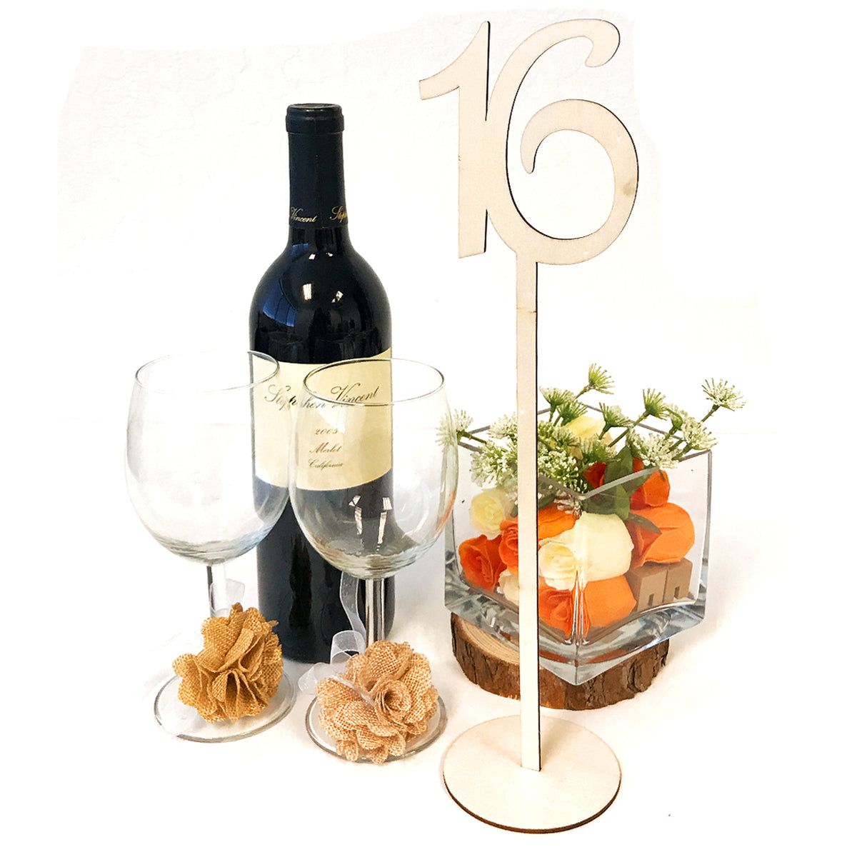 Wrapables? Wooden Table Number Stands for Wedding, Parties, Holidays, Special Events Table Decor, Set of 20