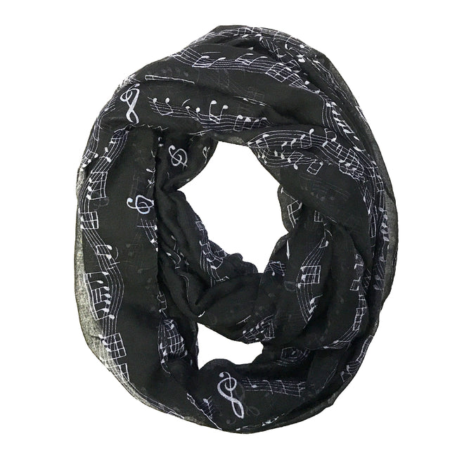 Wrapables Lightweight Musical Notes Infinity Scarf