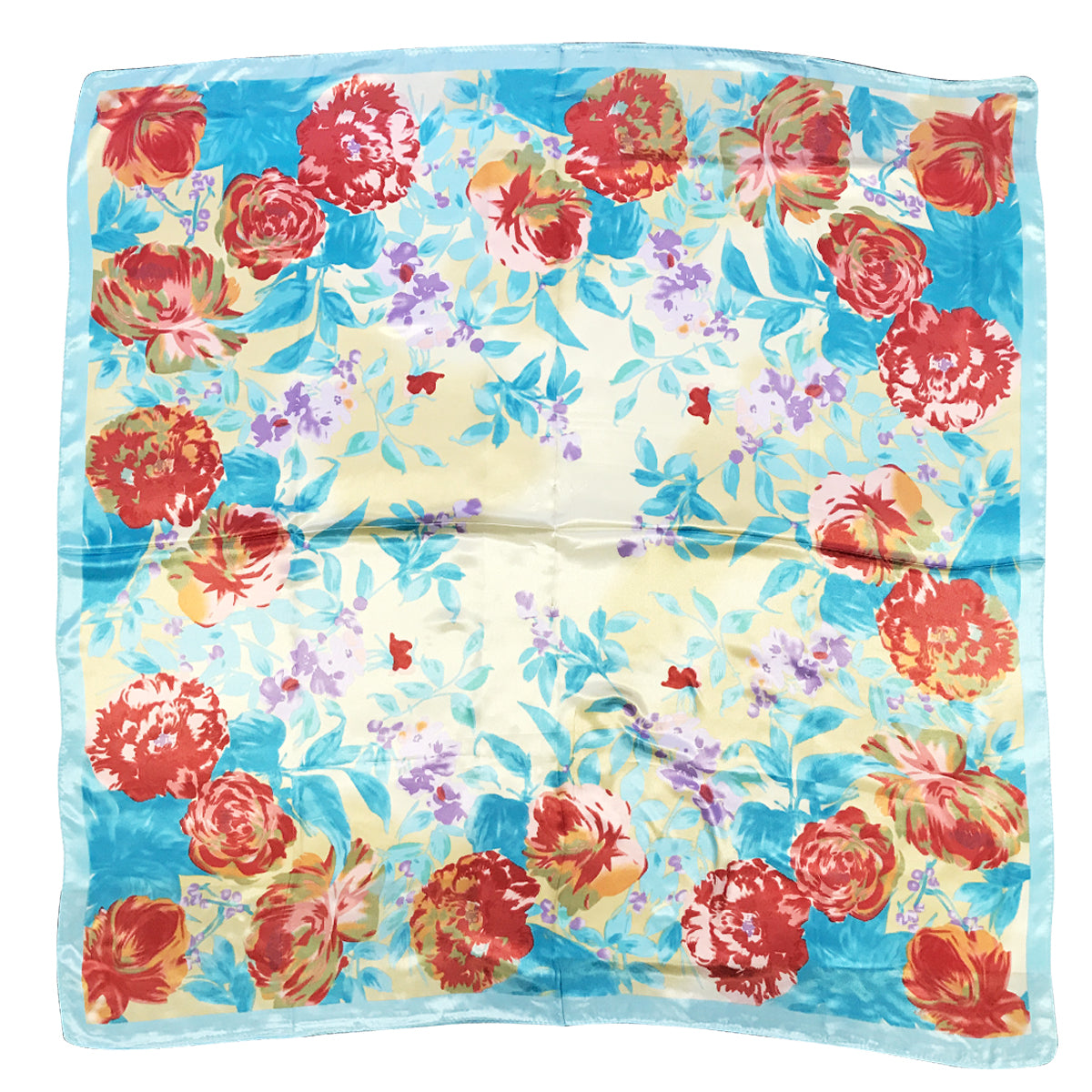 Wrapables Silk Satin Floral Neckerchief 35 x 35 Inch Square Scarf