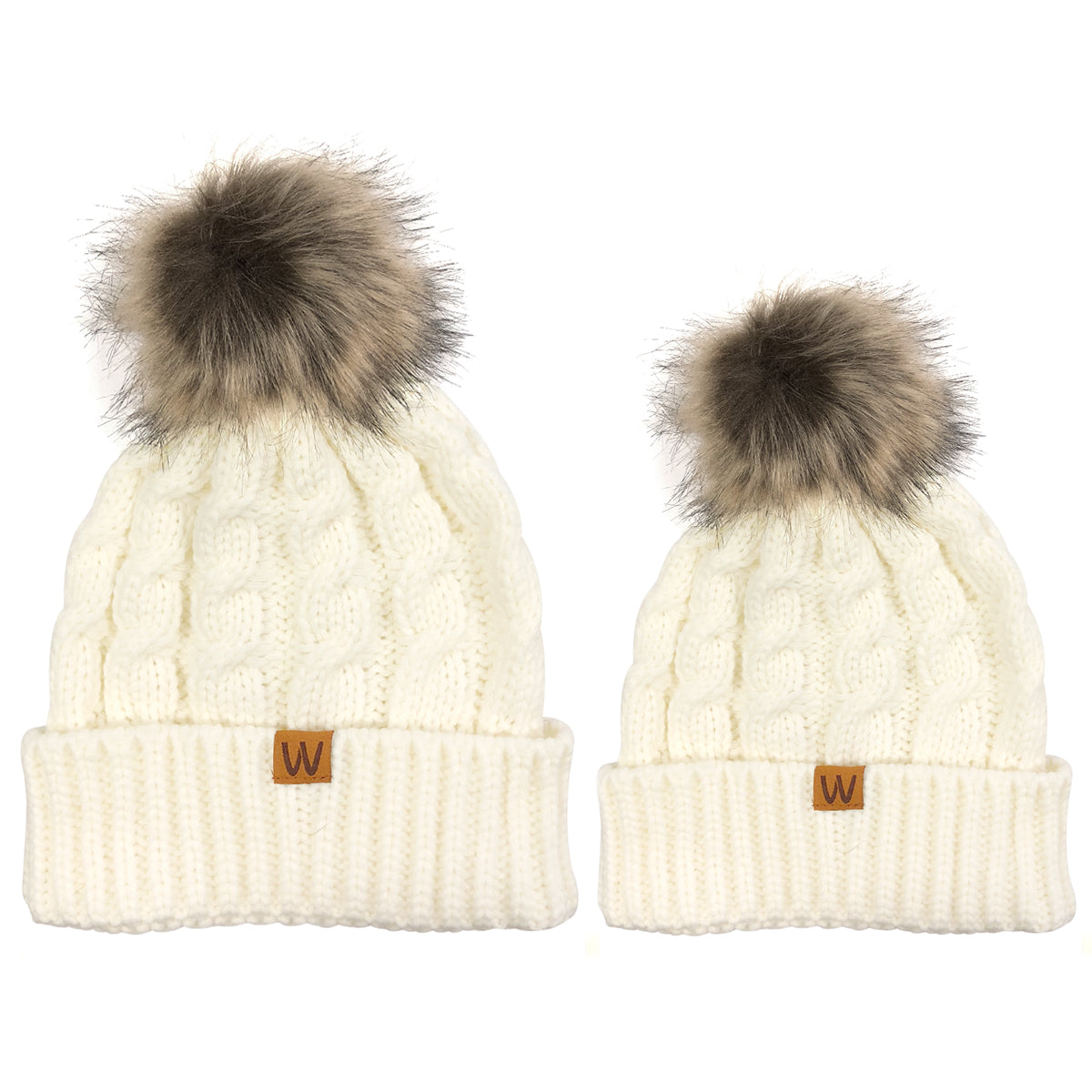 Wrapables® Cable Knit Faux Fur Pom Pom Beanie