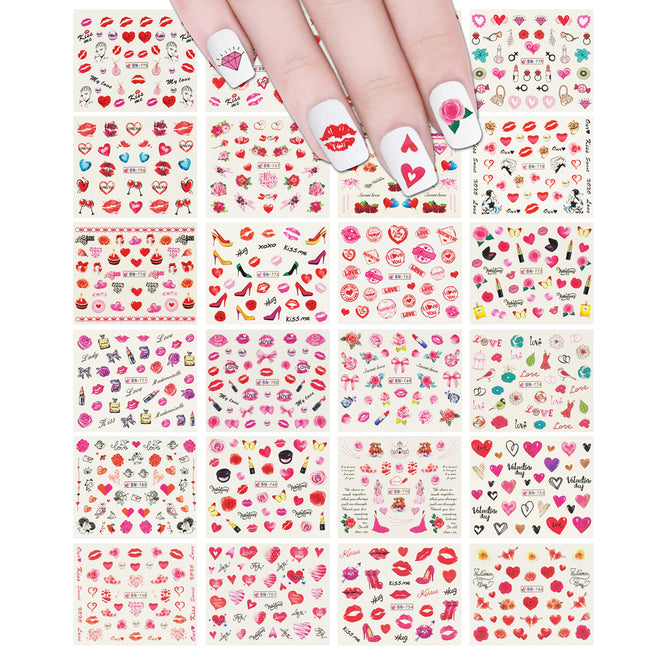 Wrapables Valentine's Day Water Transfer Nail Decals, 24 sheets (Hearts & Blossoms)