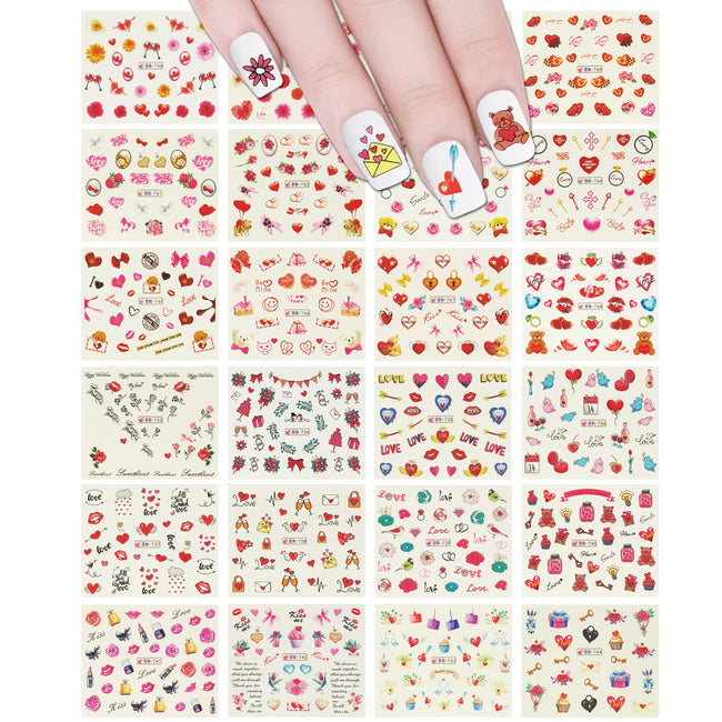 Wrapables Valentine's Day Water Transfer Nail Decals, 24 sheets (I Love You)