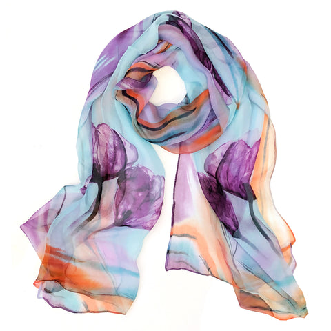 Solid Color 100% Silk Long Scarf
