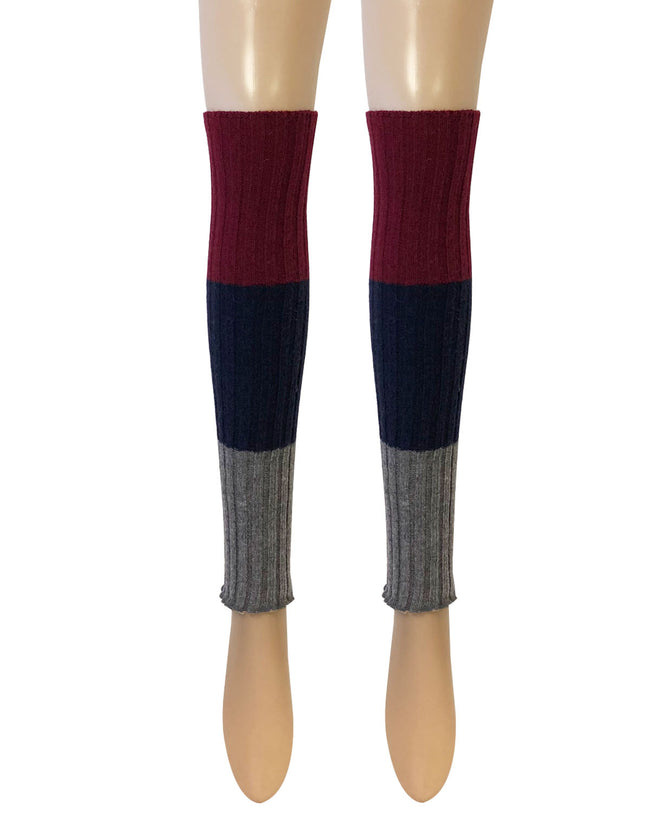 Wrapables® Women's Tri-Colored Ribbed Leg Warmers