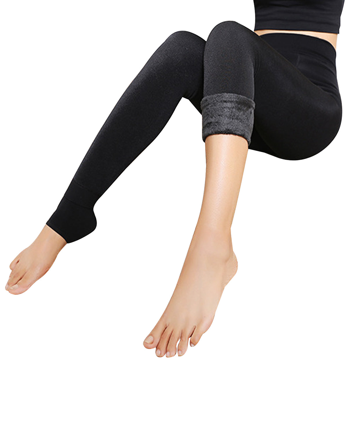 Wrapables® Women's High Waisted Super-Thick Fleece Lined Tights Leggings