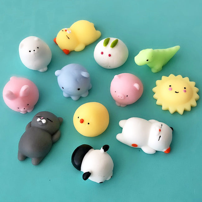 Wrapables® Party Favor Mini Mochi Squishies Kawaii Squishy Animal Toys for Stress Relief (Set of 12)