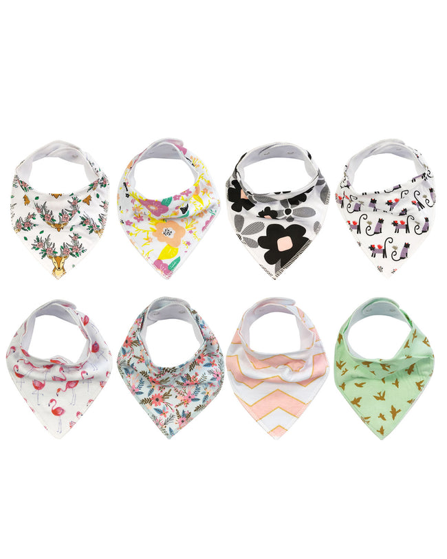 Wrapables® Baby Bandana Drool Bibs, Super Soft and Absorbent Bibs for Drooling and Teething (Set 8)