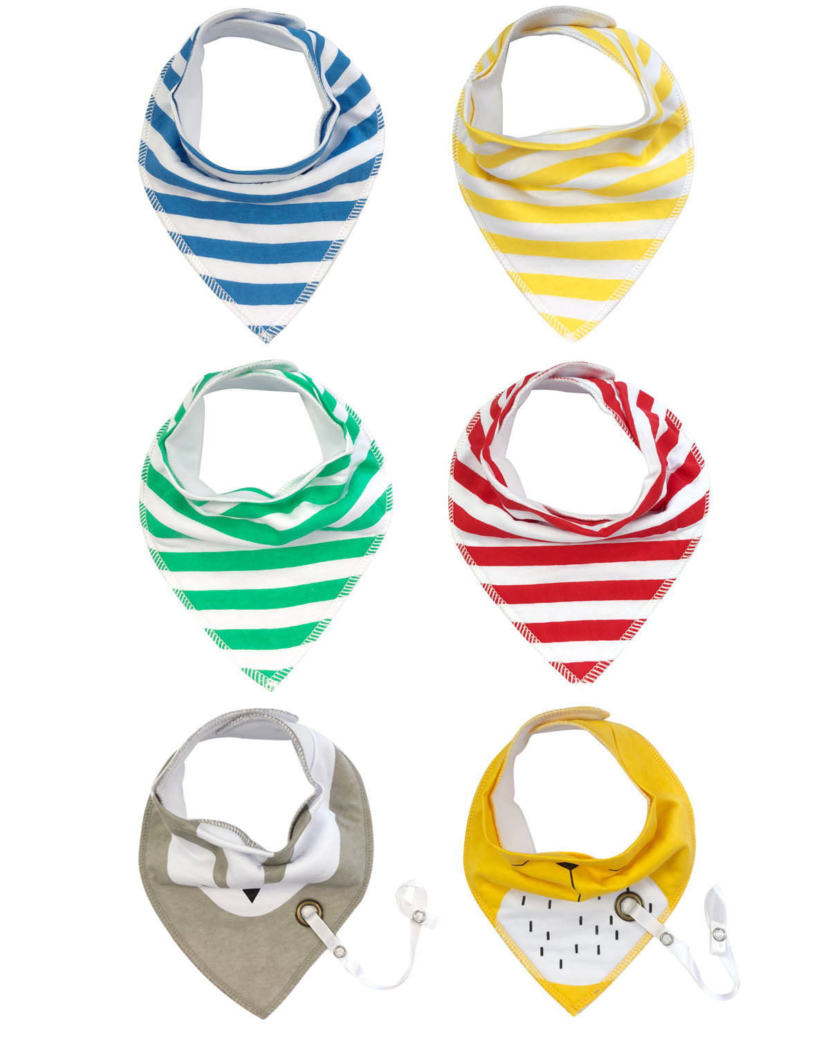 Wrapables® Baby Bandana Drool Bibs with Pacifier/Teether Toy Strap(Set 6)