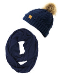 Wrapables® Winter Warm Cable Knit Infinity Scarf and Faux Fur Pom Pom Beanie Set