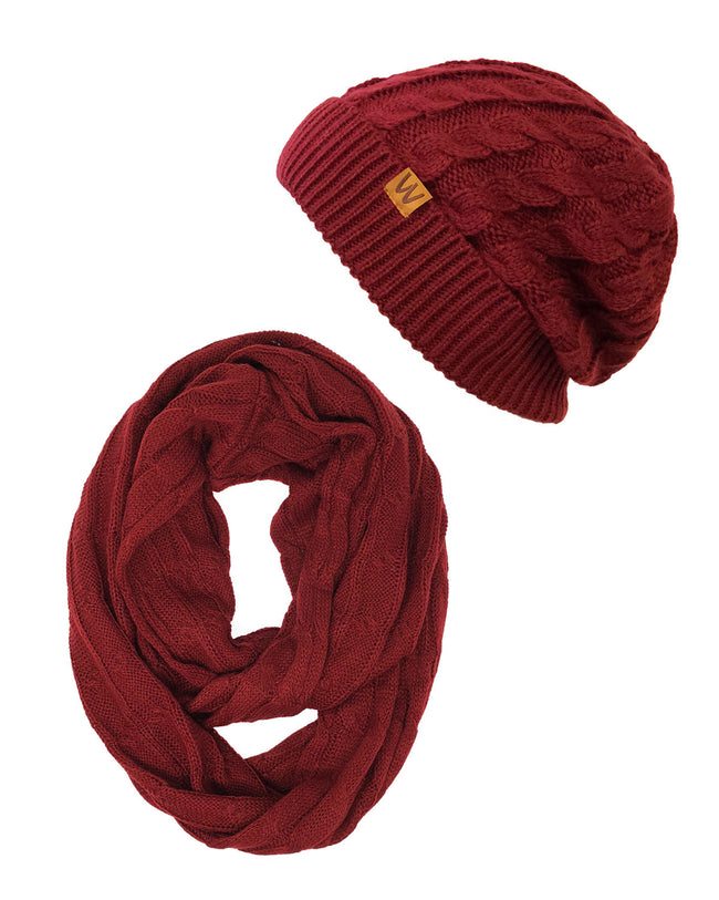 Wrapables® Winter Warm Cable Knit Infinity Scarf and Beanie Set