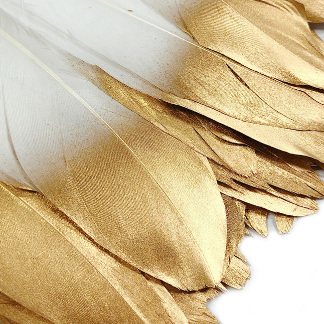 Wrapables® Gold Dipped Feather Garland, Bohemian Party Decoration for Weddings, Parties, and Baby Showers