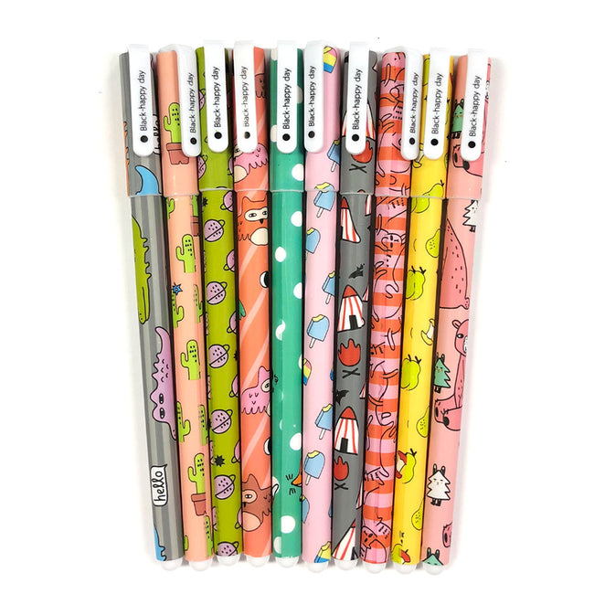 Wrapables® Cute Novelty Gel Ink Pens, 0.5mm Fine Point (Set of 10) for School, Office, Stationery