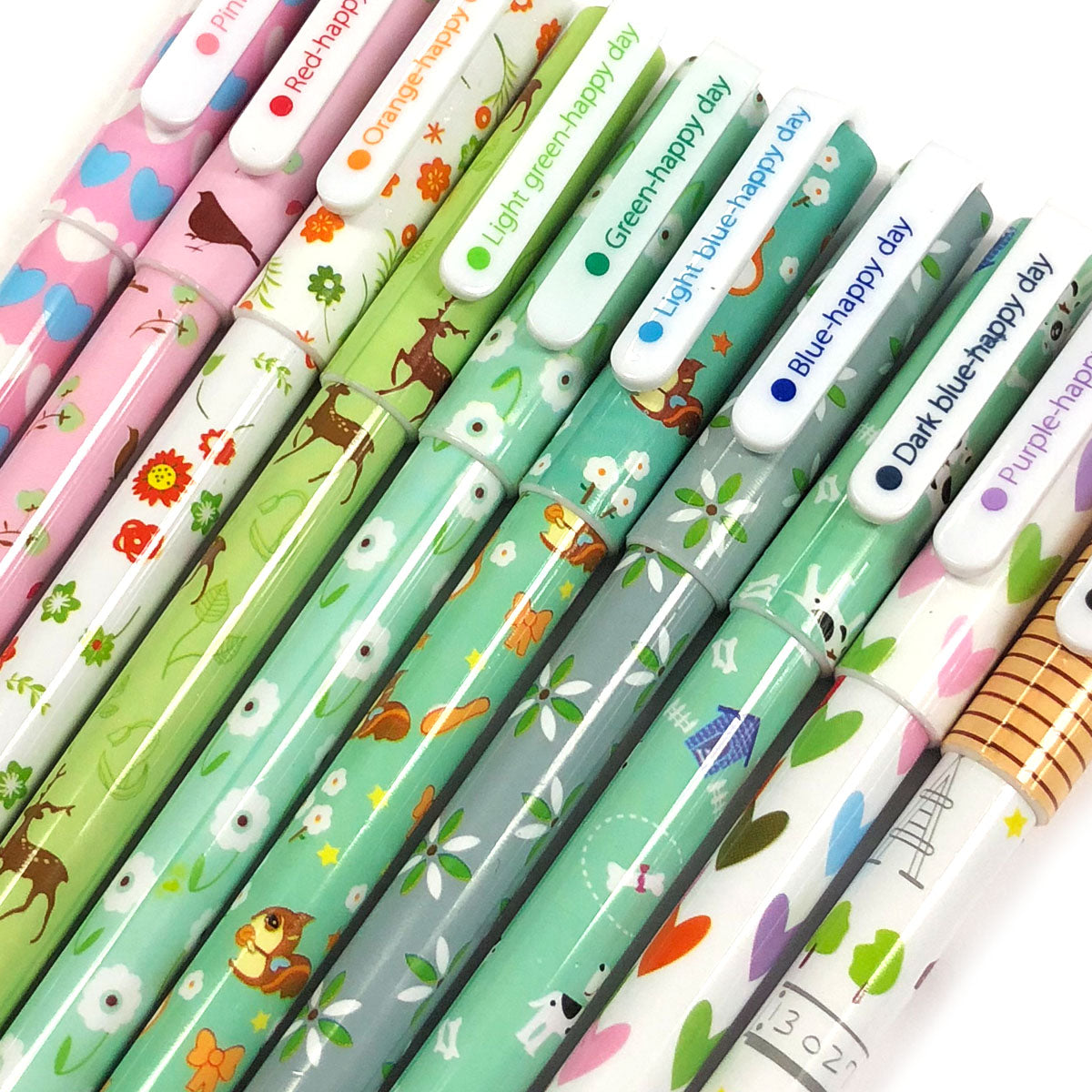 Wrapables® Cute Novelty Gel Ink Pens, 0.38mm Fine Point (Set of 10) for School, Office, Stationery