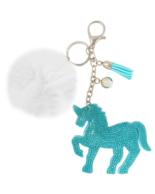 Wrapables® Crystal Bling Key Chain Keyring with Pom Pom Car Purse Handbag Pendant