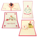 Wrapables® 3D Pop-Up Greeting Cards for Birthday, Thank you, Anniversary, Wedding, Holidays (Set of 4)