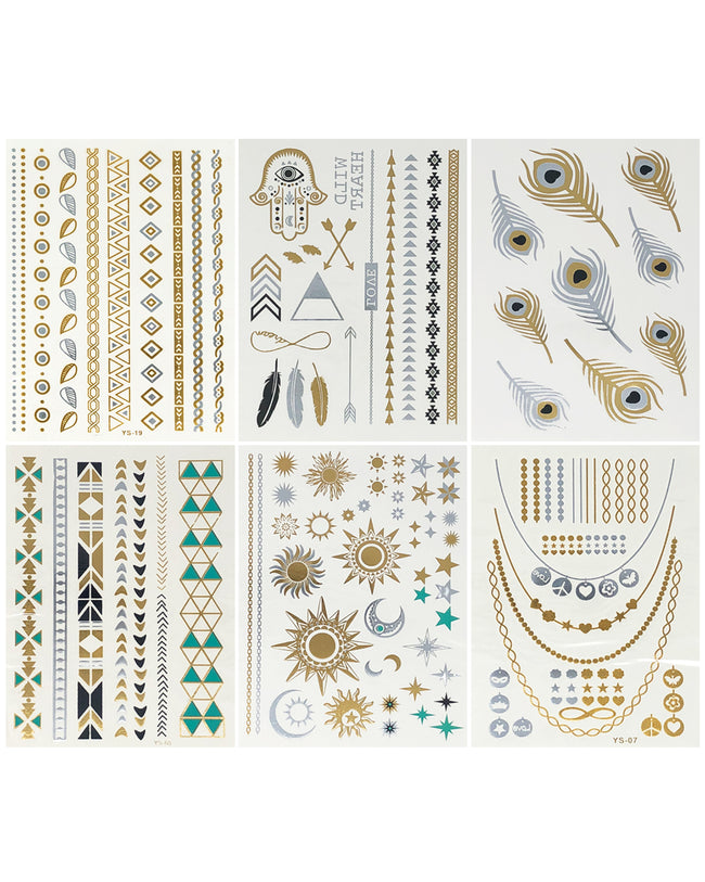 Wrapables® Celebrity Inspired Temporary Tattoos in Metallic Gold Silver and Black (6 Sheets), Large