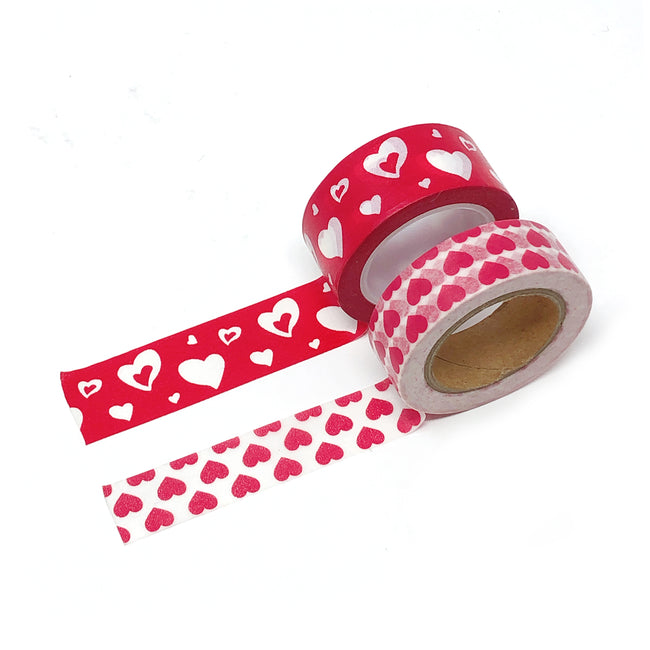 Wrapables Valentine Hearts 10M L x 15mm W Set of 2 Washi Masking Tape