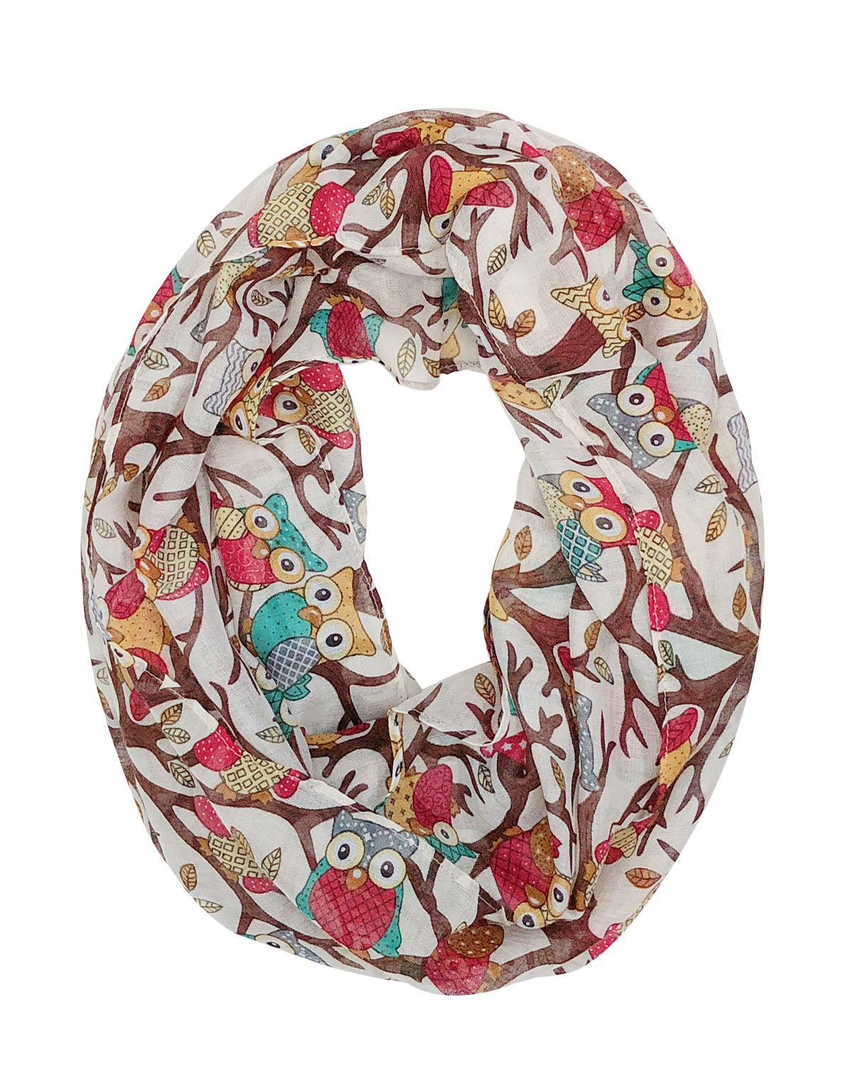 Wrapables Lightweight Forest Animal Infinity Scarf, Fox, Owl, Moose Print Scarf