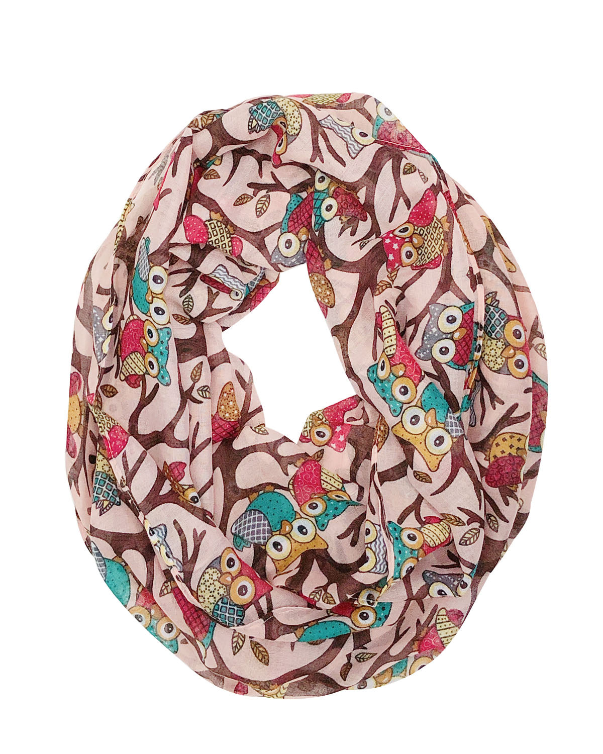 Wrapables® Lightweight Forest Animal Infinity Scarf, Fox, Owl, Moose Print Scarf