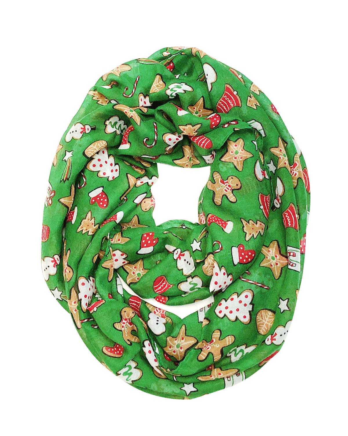 Wrapables Lightweight Winter Holiday Infinity Scarf, Candy Canes & Mistletoe
