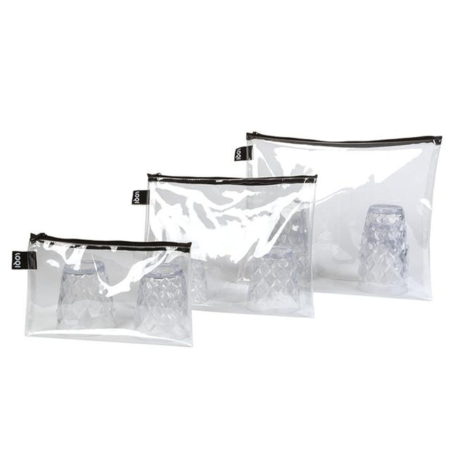 LOQI Transparent Zip Pockets (Set of 3)