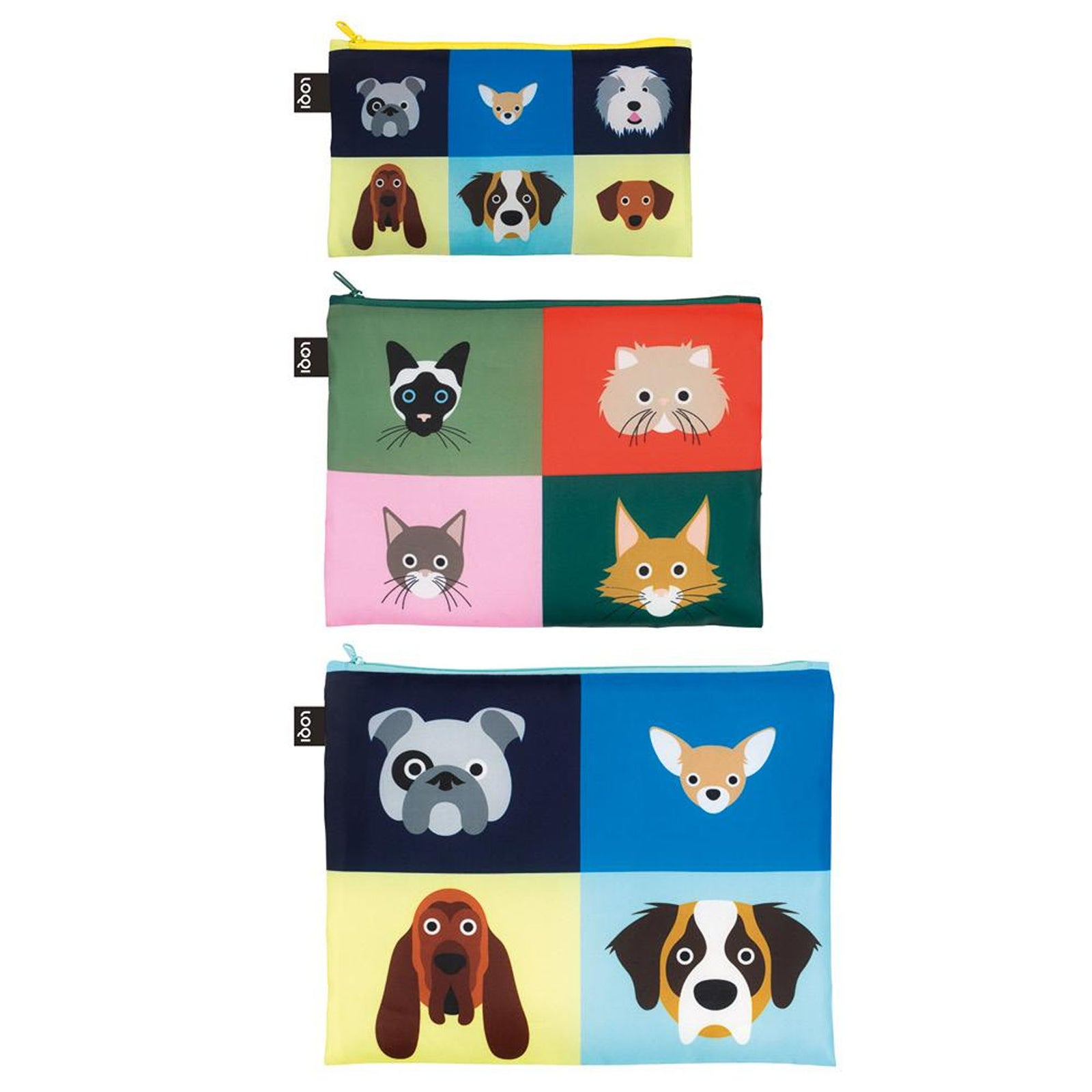 LOQI Artists Stephen Cheetham Cats & Dogs Zip Pockets