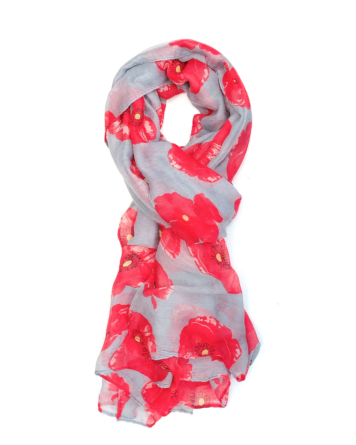 Navy blue Poppy Long Scarf Throw Wrap  material scarves Remembrance Day gift